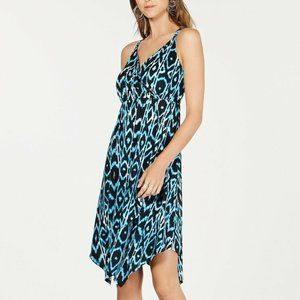 INC M Black Blue Painted Aztec Dress NWT AK75-6